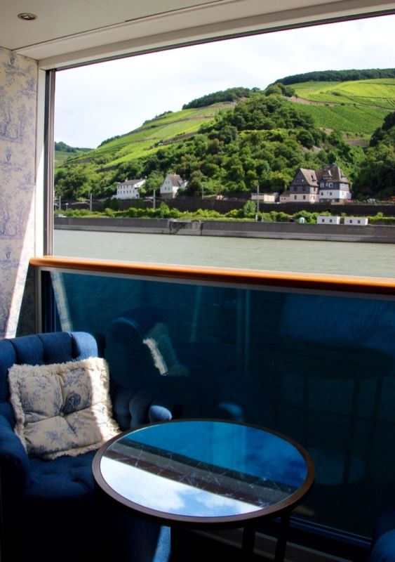 View from luxury Rhine river cruise cabin on Uniworld's SS Antoinette