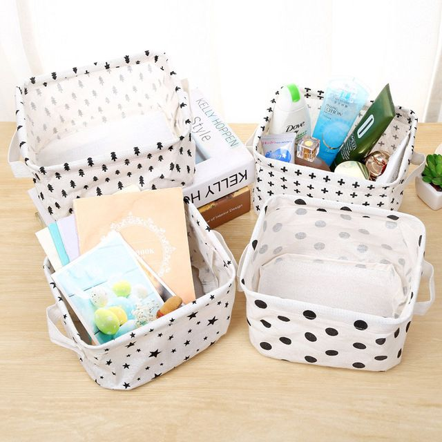 Cartoon Linen Storage Boxes With Handle Glove box Stackable Laundry Baskets Organizers Storage Box Laundry Bin 21*17*14cm