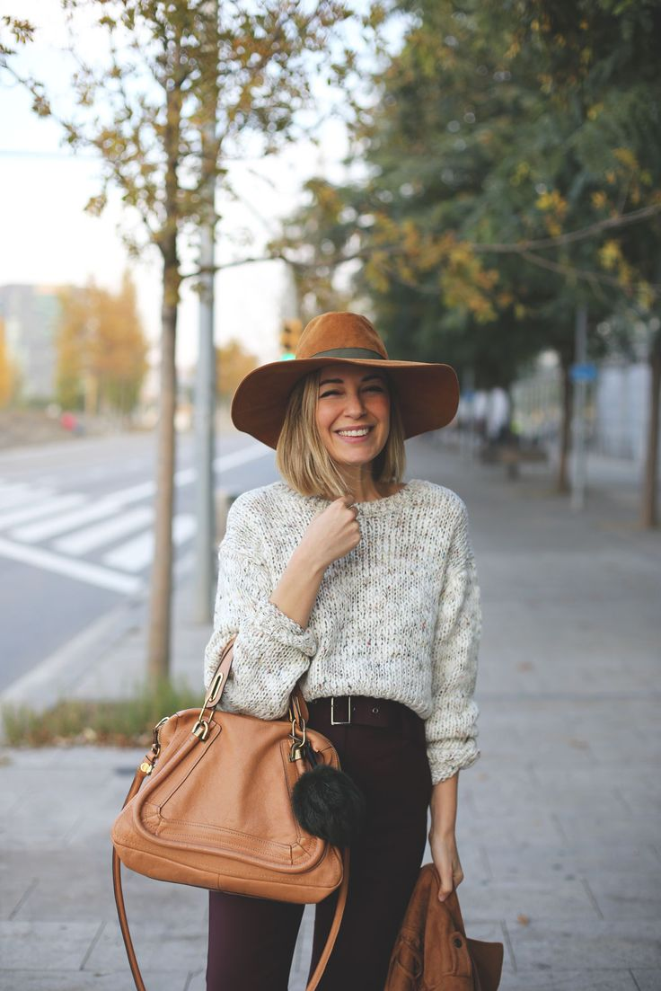 Fall fashion- black and white and pops of camel with hat and ourse