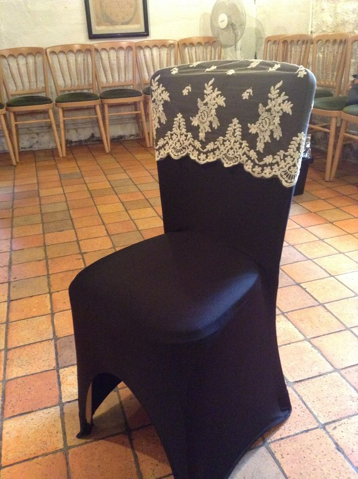 Front Image Of Vintage Champagne Lace Hood On Black Chair Cover Seat Covers And Bows