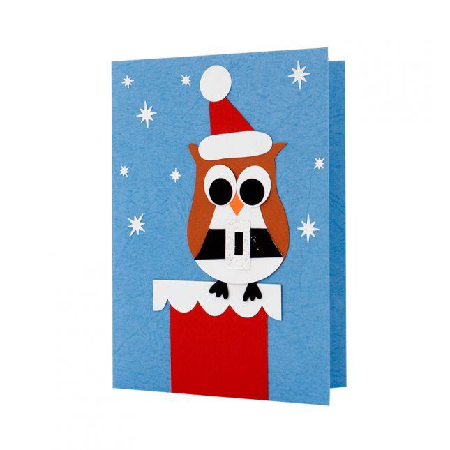 Felicitare Craciun cu model in forma de bufnita realizat din carton aplicat manual in multiple straturi #ChristmasCard #Craciun