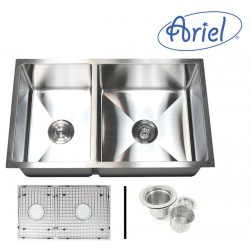 """Undermount Kitchen Sink. 16 Gauge Stainless Steel. Single Bowl. Exterior Dimensions 32"""" x 19"""" x 10"""". Interior Dimensions 12"""" x 17"""" x 10"""" (Left Bowl); 17"""" x 17"""" x 10"""" (Right Bowl). Package Includes 40/60 Double Bowl Kitchen Sink, Matching Protective Bottom Grid Set and One Deluxe Lift-out Basket Strainer.  http://www.emoderndecor.com/32-inch-stainless-steel-undermount-40-60-double-bowl-kitchen-sink-15mm-radius-design-16-gauge-with-free-accessories.html#.UTXz82MyXRg"""