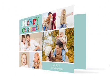 Viele bunte Schnappschüsse zeigt diese fröhliche Weihnachtskarte.  Insgesamt sieben Fotos können Sie in diese Weihnachtskarte einsetzen, eins davon im Innenteil dieser Klappkarte. Dort befindet sich auch ein großes Textfeld für Ihren persönlichen Text. Auf der Rückseite ist die Absenderadresse vorgesehen.