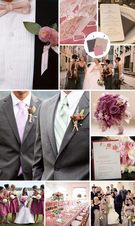 Romantic theme  Rose + Dusk + Smoke  Good for: Formal romantic weddings  Tips for pulling it off: This sophisticated trio adds softness to a black-tie affair. In floral arrangements, keep greenery to a minimum, as it'll distract from the romantic elegance of this palette.