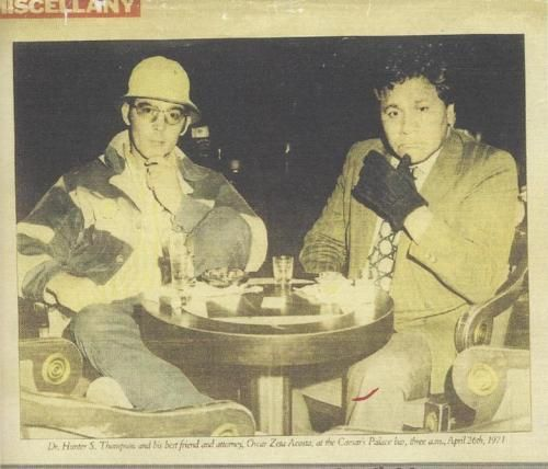 Dr. Hunter S. Thompson and his best friend and attorney, Oscar Zeta Acosta, at the Caesar's Palace bar, three a.m., April 26th, 1971 W.Zepher