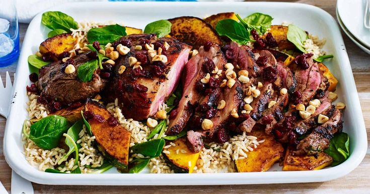 Create a dish the whole family will enjoy with this flavoursome barbecued lamb served with a light brown rice and pumpkin salad.