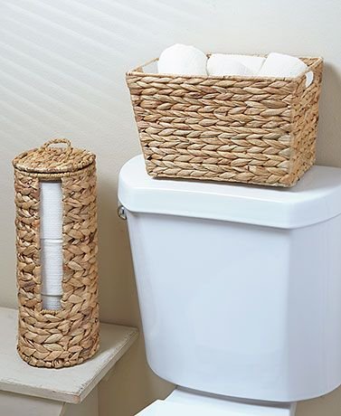 Organize your powder room in a stylish way with this Woven Bathroom Storage. The natural color of the woven water hyacinth will nicely complement other decor. U