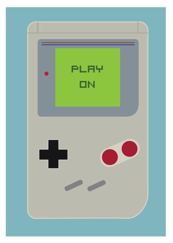 Play On Art Print Game Boy Nintendo Handheld DS Mario Retro