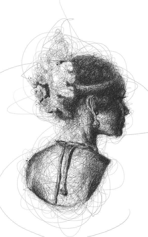 Scribble Sketch Drawing : Oeuvre by vince low danceuse de bhratanatyam pen