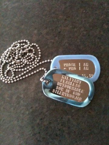 I.D. Tags (Military Style Dog Tags) custom silencer colors and personalized!
