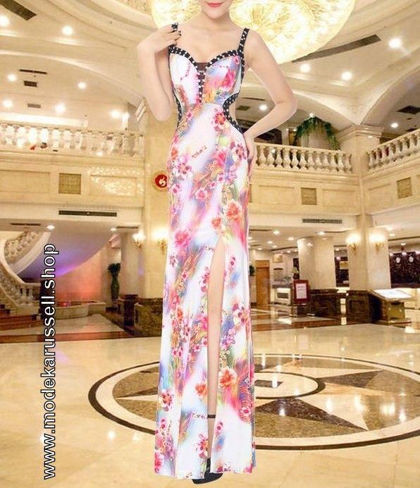 Elegantes Cut Out Abendkleid mit Blumen