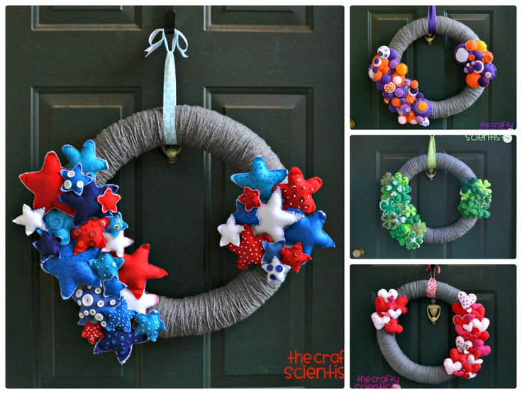The Crafty Scientist: Interchangeable July 4th Wreath  Mop It Up Mondays #23