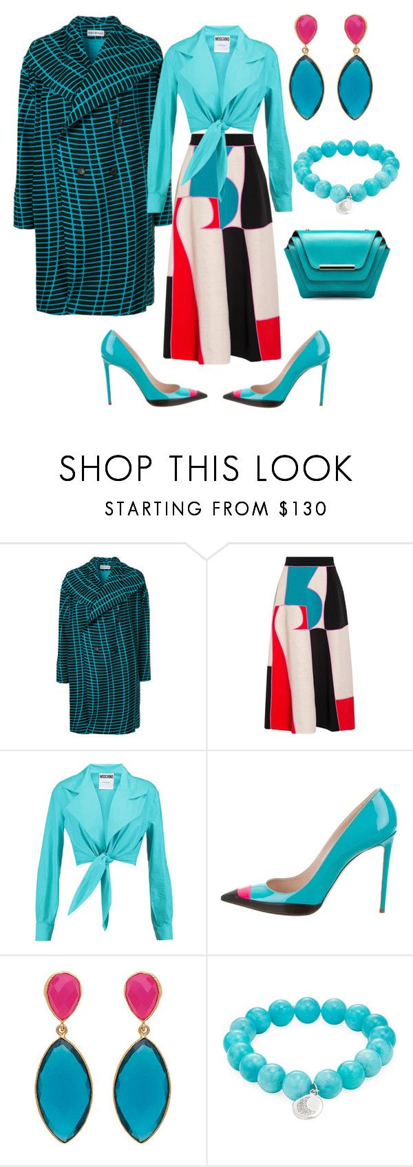 """""""Untitled #2756"""" by deirdre35 ❤ liked on Polyvore featuring Issey Miyake, Roksanda, Moschino, Ruthie Davis, Anzie and Ellia Wang"""