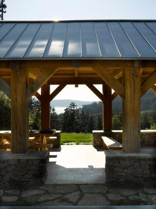 Post and beam picnic pavilion; Bosworth Hoedemaker