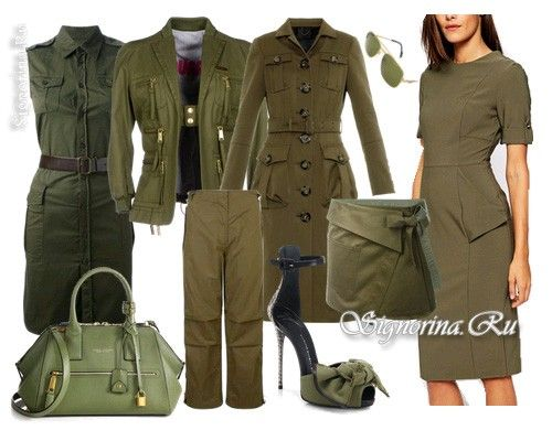 Женская одежда в стиле милитари  Кое-что из списка наверняка найдётся в вашем шкафу, а остальные вещи при желании можно докупить. Все они легко комбинируются друг с другом и могут быть использованы для ансамблей в других стилях. Тренчкот.  Прямые брюки из хлопка, можно с накладными карманами и клёпками или брюки-карго.  Прямая юбка до колен или трапеция чуть выше колен.  Куртка из кожи или текстиля без украшений.  Платье прямого покроя.  Водолазки и майки, также подойдут гимнастёрки и…