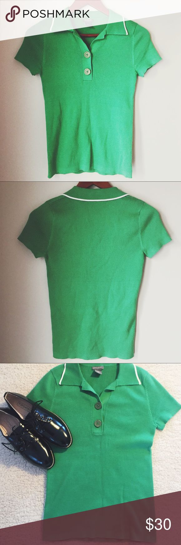 Ann Taylor Petites green knit polo ⋈ Beautiful kelly green color ⋈ Dress up or down ⋈ Purchased from Ann Taylor Loft ⋈ Size is Small PETITE ⋈ Price is negotiable! Ann Taylor Factory Tops Tees - Short Sleeve