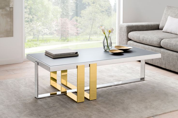 Vanderbilt:  frosted grey glass, stainless steel structure and side supports in gold finish, bringing a touch of glamour alongside neutral colouring