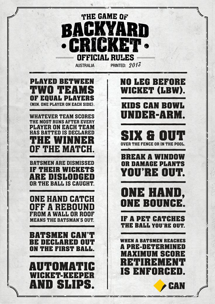 The rules of Backyard Cricket from the Commonwealth Bank - www.lovecricket.com.au