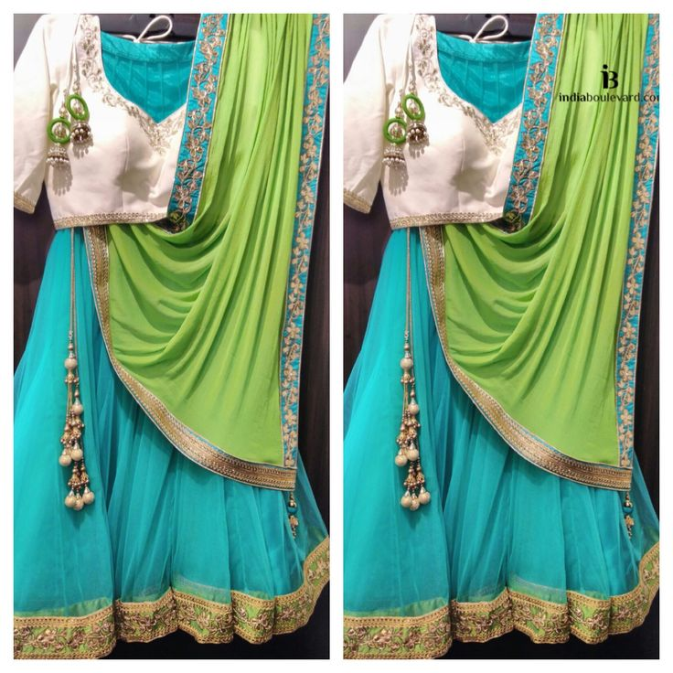 Bringing three complimentary colours together in this trio aqua & like green lehenga paired with a ivory blouse. For all prices and inquries, please email us at inquiries@indiaboulevard.com or visit us at indiaboulevard.com #indiancouture #desicouture #indianwear #desifashion #indianfashion #fashionista #customindianwear #allthingsindian #newdesigners #lehenga #bridal #indianembroidery #couture #ootd #aw15 #igers #instagood #asianbride #bollywood #autumn #anarkli #skirt #love #stunning