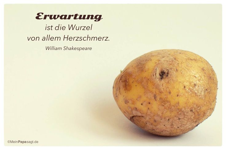 Mein Papa sagt...   Erwartung ist die Wurzel von allem Herzschmerz.  William Shakespeare    Weisheiten und Zitate TÄGLICH NEU auf www.MeinPapasagt.de