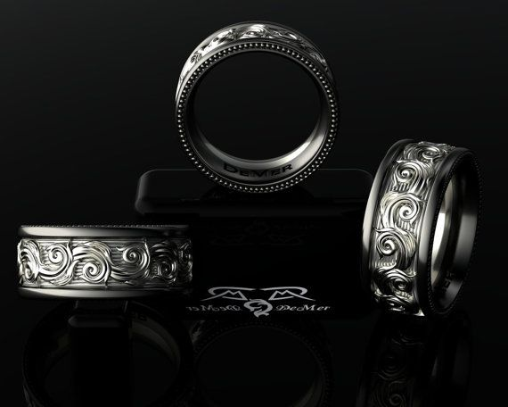 Intricate 14kt White Grey Gold, Black Silver Wedding Band Mens or Womens Ring. Luxury Weight Comfort Fit. Modern Masculine scrollwork!
