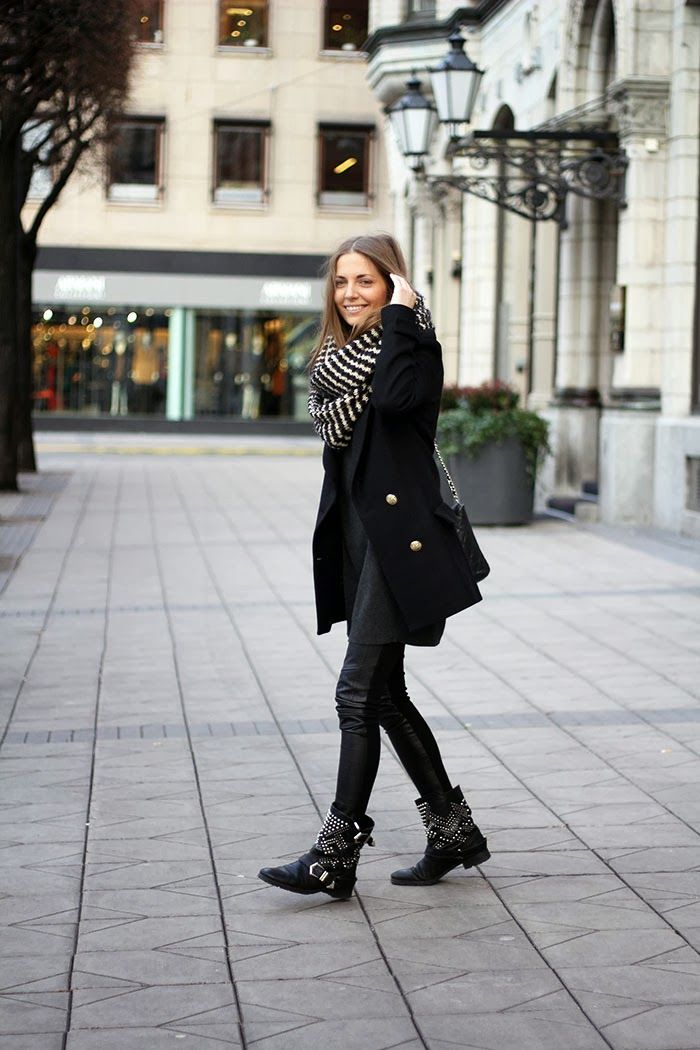 black and white circle scarf, black pea coat, coated skinny jeans, embellished black booties