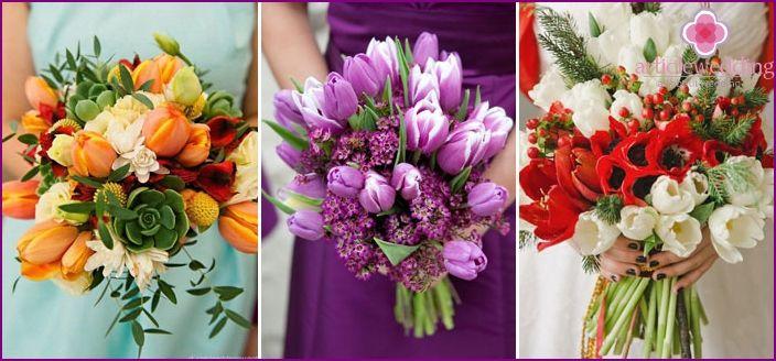 Boda del tulipán - ideas de diseño, la imagen de la novia y el novio, foto