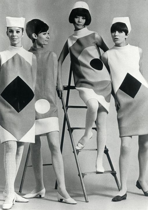 Hiroko Matsumoto and other models wearing Pierre Cardin F/W 1965-66, photographed by Ghislain Broulard; 1966.