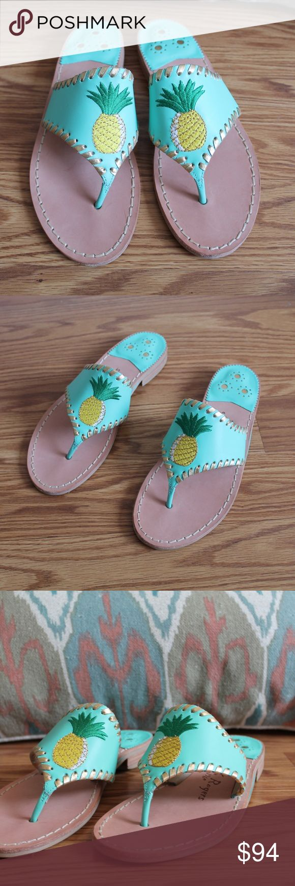 NEW Jack Rogers Blue Pineapple Leather Sandals Only worn to try on, new without tags. Turquoise blue leather with embroidered pineapples and gold wrap around trim. Size 6 1/2. Jack Rogers Shoes Sandals