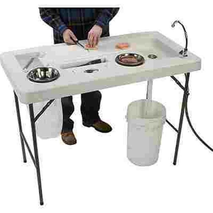 Portable fish game cleaning station sink men fishing for Homemade fish cleaning table