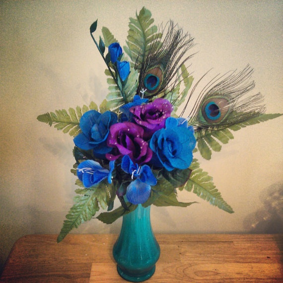 Peacock Wedding Or Party Table Centerpiece By