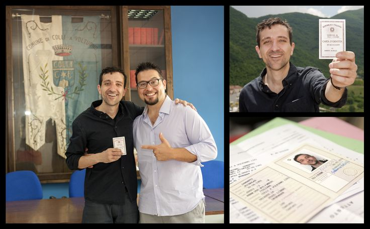 After having successfully applied for Italian Citizenship thanks to italyMONDO!, Nicholas returned to his adoptive town of Colli a Volturno to request his Italian National ID Card and — of course — his Italian PASSPORT! www.italymondo.com