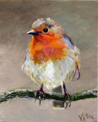 Birds painting by Vitec: Robin original oil painting 4x5 in: