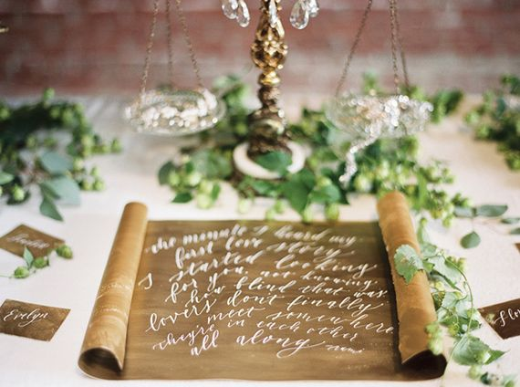 Gold and green calligraphy | Photo by Anthem photography