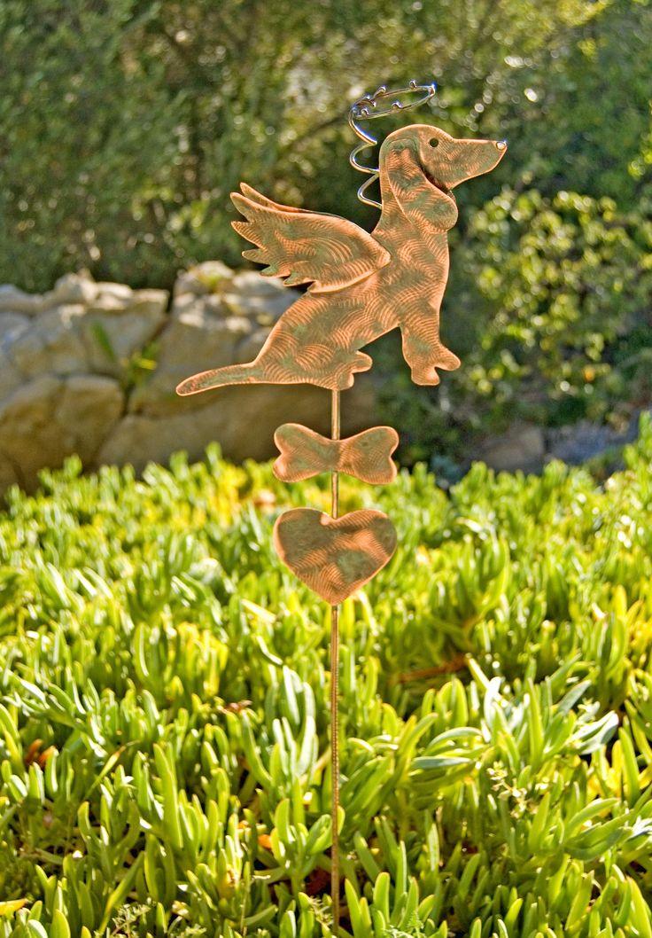 Dachshund Metal Garden Art Pet Memorial Copper Garden Stake, Pet Grave Marker, Metal Yard Art, Outdoor Metal Art, Copper Garden Sculpture