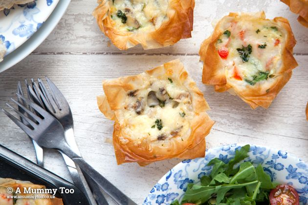 Filo pastry mini quiches - great for kids to make and eat!