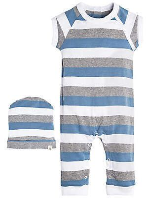 073756d8ffda Baby Tri Color Stripe Organic Cotton Coverall and Hat Set  center ...