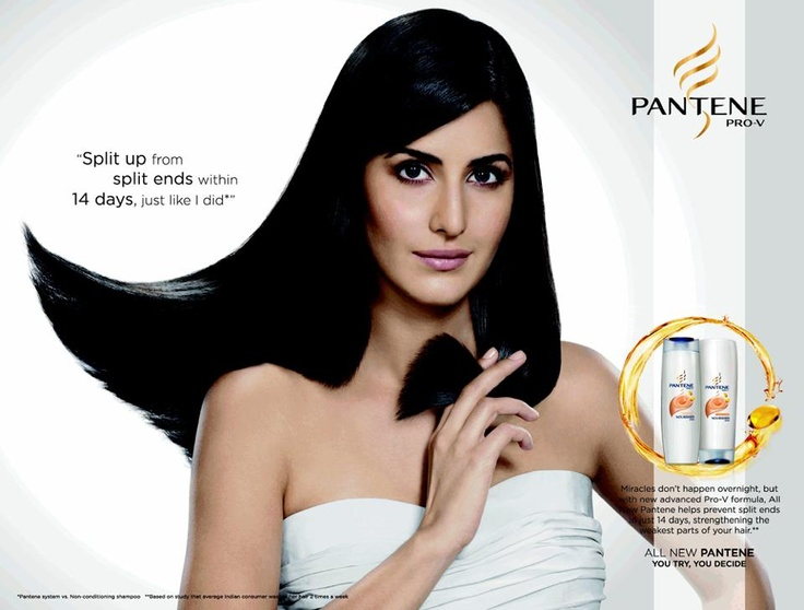 "The heading ""split up from split ends, just like I did"" is rather cheesy. Well, it is done to persuade people, especially with split ends, to buy this product. Apparently, this actress used pantene and all her split ends went away. So, I am really sure that if I use pantene, my hair will look like hers. Sure. Some people will fall into the trap of these shampoo adverts and will try to get rid of their split ends in just 14 days."
