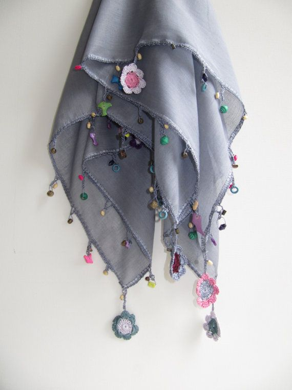 Gray scarf made by bead and lace handiwork on edge by SEVILSBAZAAR, $20.00