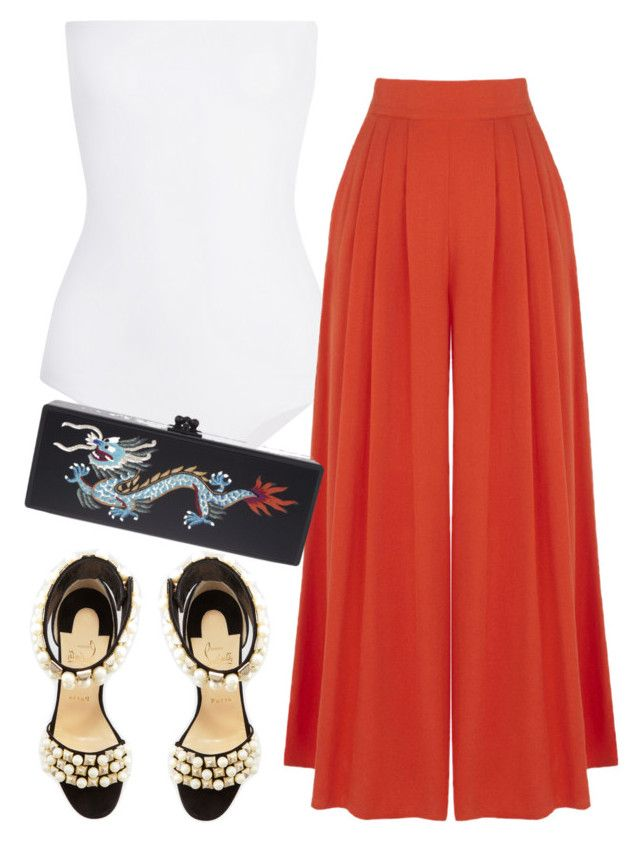 Untitled #5330 by stylistbyair on Polyvore featuring polyvore fashion style Warehouse Mikoh Christian Louboutin Edie Parker clothing
