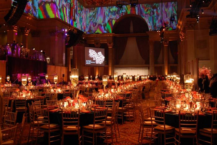 Colorful projections. Cipriani Wall Street (NYC)