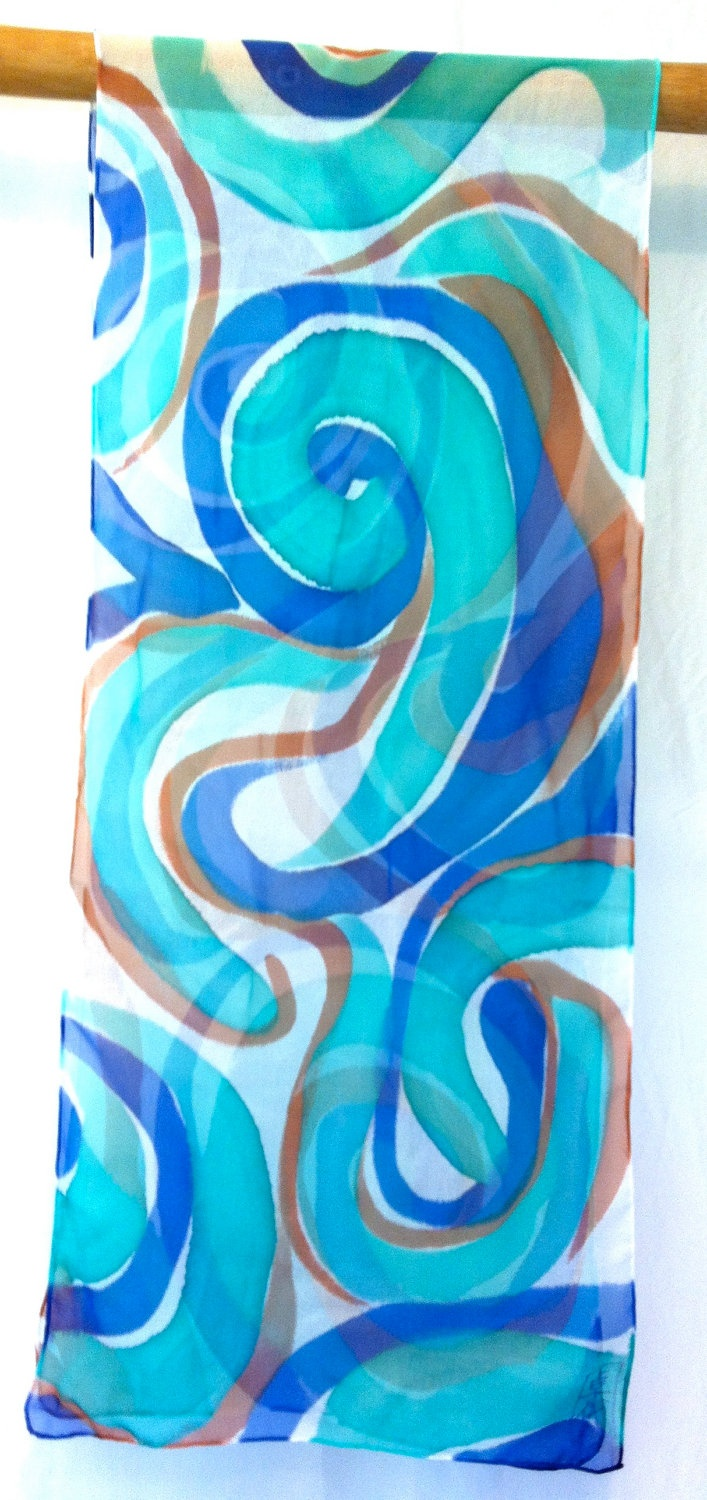 Blue Silk Scarf. Hand Painted Silk Scarf. Blue MOD Swirl. Handmade silk scarf. Silk Chiffon Scarf. Silk Scarves Takuyo. approx 13x68 in.. $70.00, via Etsy.