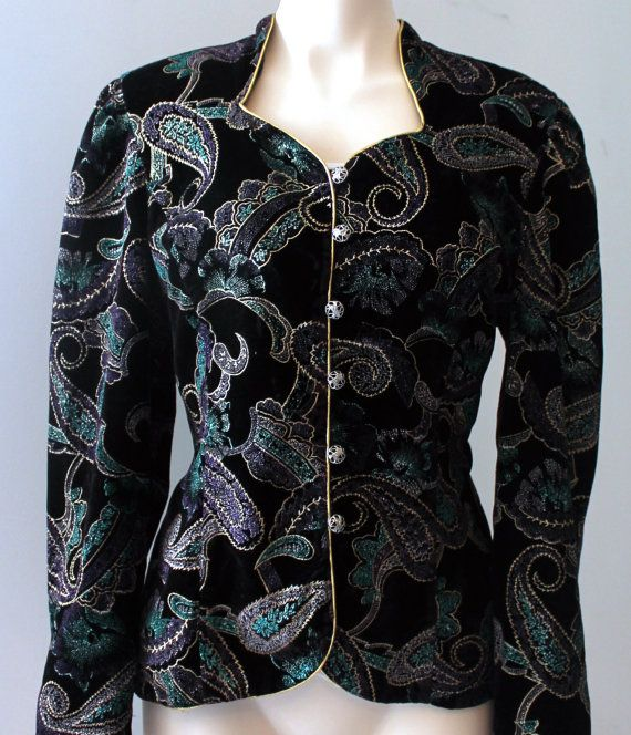 Vintage Nu-Mode Petite Black Velvet Jacket with Paisley Design Buy Now - https://www.etsy.com/ca/listing/212332450/vintage-nu-mode-petite-black-velvet?ref=shop_home_active_10