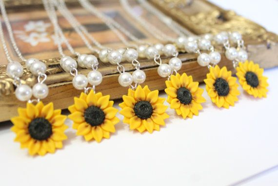 Set of 6 Sunflower Necklace Sunflower Jewelry Yellow