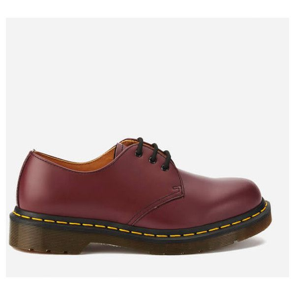 Dr. Martens Originals 1461 3-Eye Smooth Leather Gibson Shoes - Cherry... (£100) ❤ liked on Polyvore featuring shoes, red, low heel shoes, brogue shoes, red low heel shoes, round toe shoes and red lace up shoes