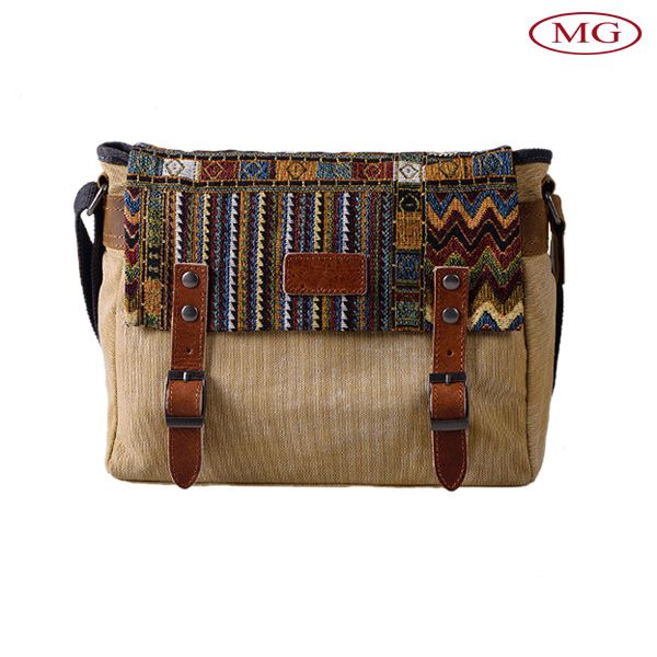 Modello etnico di tela da ricamo borse a tracolla in pelle per le donne/uomo su ordinazione con logo in rilievo