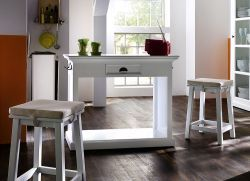 Whitehaven Painted Breakfast Table And 2 Stools With Cushions with a clean and contemporary, distressed white painted finish. http://solidwoodfurniture.co/product-details-pine-furnitures-2317-whitehaven-painted-breakfast-table-and-stools-with-cushions-.html