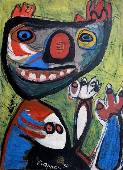 Karel Appel, (1921-2006), Cobra is een afkorting van Copenhagen, Brussel, Amsterdam. Intussen werd het werk van de Experimentele Groep in Nederland slecht ontvangen. Een christelijk maandblad, Op den uitkijk, schreef dat ze maar beter met hun werken de Kalverstraat konden gaan plaveien, of het werk in het IJ konden gooien, dan het onder de ogen te brengen van het goedburgerlijke Nederlandse volk. Niettemin exposeerde De Bijenkorf het werk van Appel, Corneille en Constant. -1950