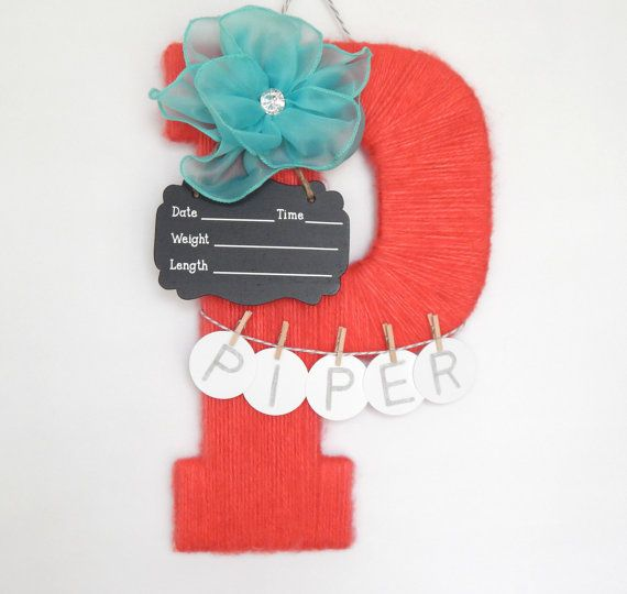 Hospital Door Hanging Letter P Girl or Boy by LauraLizzies on Etsy