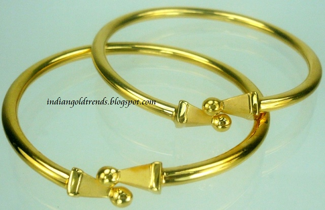 Latest Indian Gold and Diamond Jewellery Designs: 22k gold Baby bangles designs